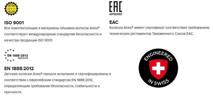 сертификат на коляски Анекс